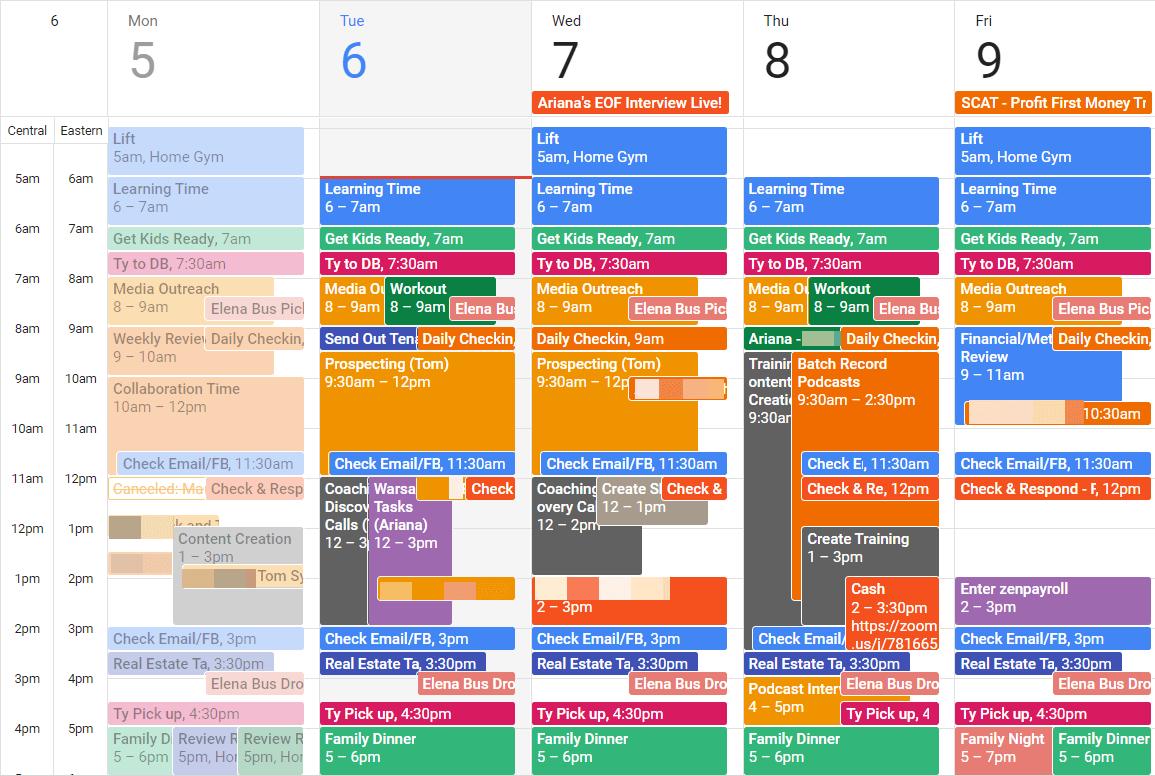 Weekly Calendar Planning