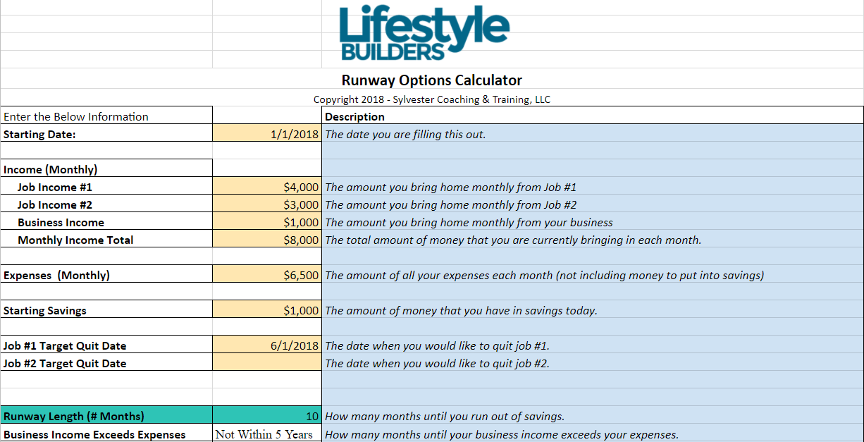 Leave Your Job Runway Calculator Married